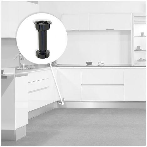 pie nivelador con base premontada para mueble, regulable 98 -115 mm, Plástico, Negro, 40 ud.