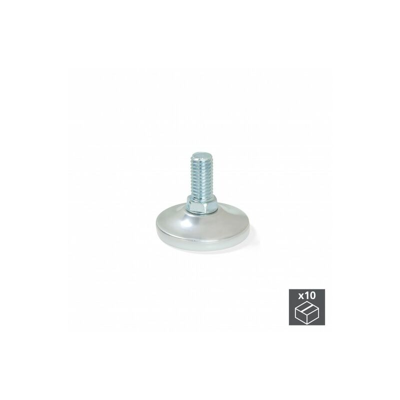 4 un Pata pie redonda para Mueble en acero diametro 30mm altura 100mm cromo con regulador Nivelador de 15-25mm