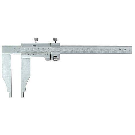Pied à coulisse becs simples + réglage fin 600 x 115 mm