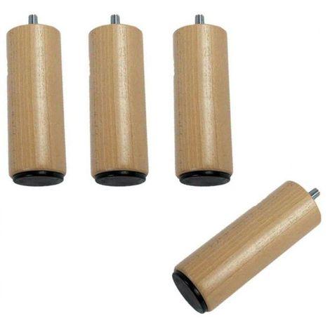 Pied bois cylindrique (lot de 4)