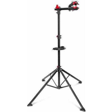 Pied d'atelier pour vélo support de réparation entretien réglable noir 105 -190 cm