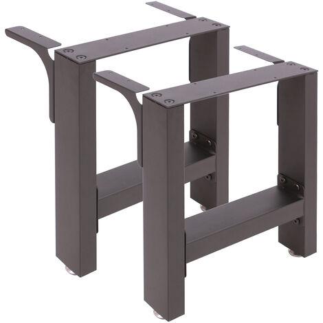 """main image of """"Pied de Banc d'assise Profil carré 40x43 cm Noir Revêtement par poudre Piètement de Banquette Meuble"""""""