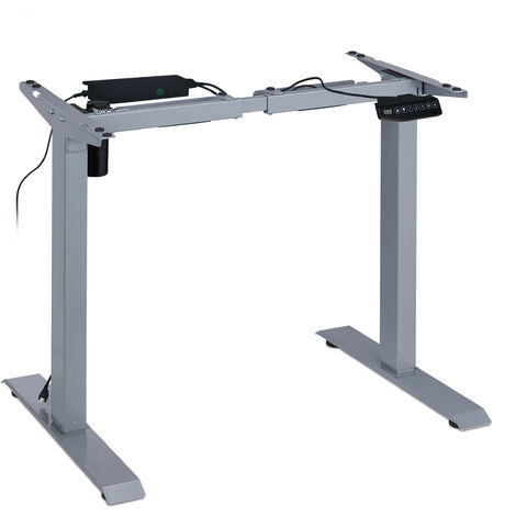 """main image of """"Pied de bureau réglable en hauteur électrique, 71-121cm, assis/debout, fonction mémoire, acier, gris"""""""