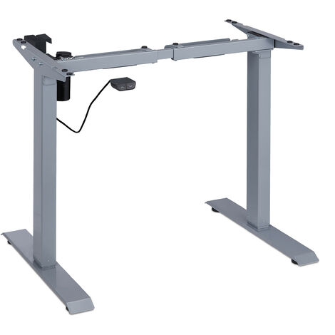 """main image of """"Pied de bureau réglable en hauteur, électrique, extensible, tréteau, 71-121 cm, cadre table, acier, gris"""""""