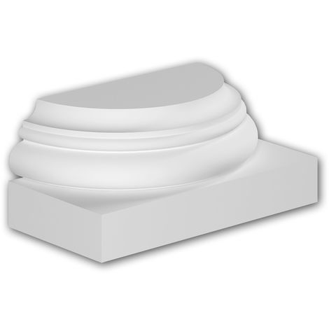 Pied de demi-colonne Profhome 417001 Moulure de façade Colonne Élément de façade style toscan blanc