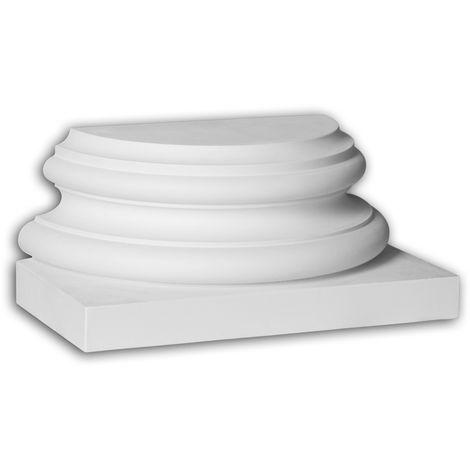 Pied de demi-colonne Profhome 447302 Moulure de façade Colonne Élément de façade style corinthien blanc