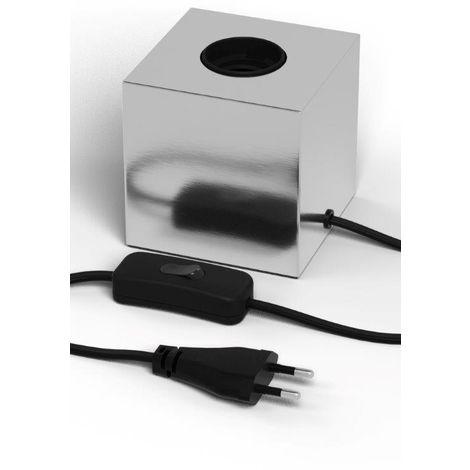 Pied de lampe forme cube E27 - Couleur nickel - Calex