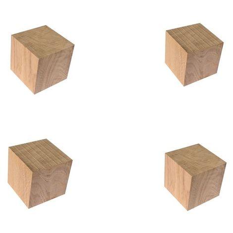 Pied de meuble chêne 5 cm lot 4 pcs