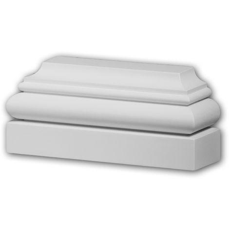 Pied de pilastre Profhome 423201 Élément de façade Pilastre Moulure exterieure style ionique blanc