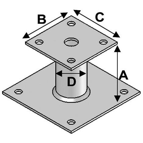 Pied de poteau avec platine type PP-150 (A x B x C x D x ép) 150 x 90 x 80 x 42 x 4,0 mm - AL-PP150 - Alsafix - -