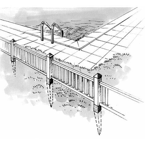 Pied de poteau carré à enfoncer - Coloris Noir - 91 mm