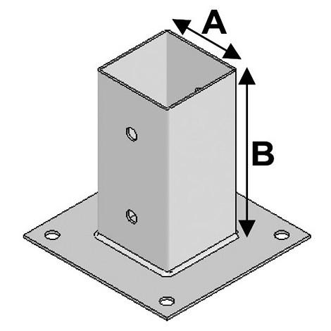 Pied de poteau de jardin 71 à boulonner (A x B x ép) 71 x 150 x 2,5 mm - AL-PJB71 - Alsafix - -