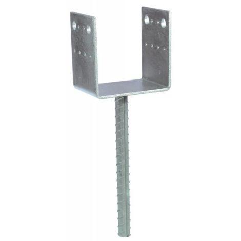 Pied de poteau en U PPD, section 90x70 mm, longueur 250 mm