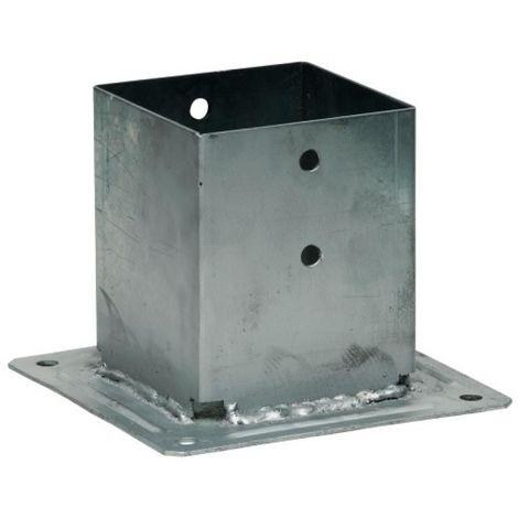 Pied de poteau fermé à visser, en acier galvanisé, section 90x90 mm, platine de 150x150x2 mm