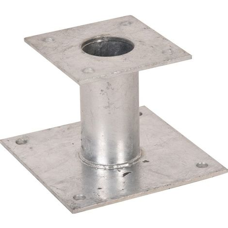 Pied de poteau fixe 150mm double platine galvanisé à chaud