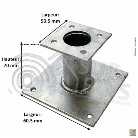 Pied de poteau fixe 150mm double platine galvanisé à chaud Sud Bois