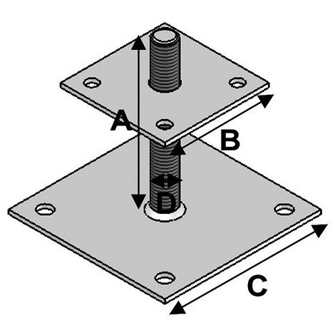 Pied de poteau réglable à boulonner avec platine et tige filetée (AxBxCxDxép) 150 x 100 x 150 x 20 x 4,0 mm - Fixtout - -