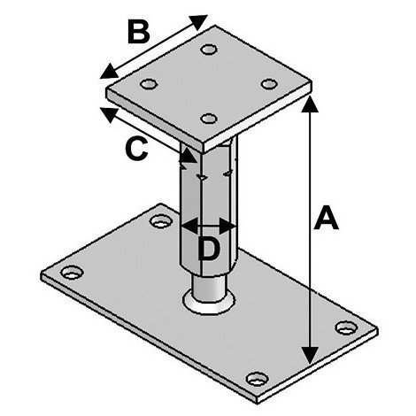 Pied de poteau réglable avec platine type PPR-190 (A x B x C x D x ép) 140-220 x 80 x 90 x M20 x 8/5 mm - AL-PPR190 - Alsafix - -