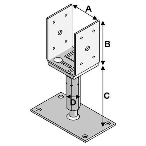 Pied de poteau réglable avec platine V (A x B x C x D x ép) 80-160 x 120 x 140-220 x M20 x 5,0 mm - Fixtout - -