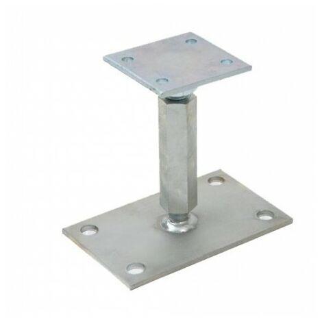 Pied de poteau réglable en hauteur de 120 à 200 mm - Galvanisé