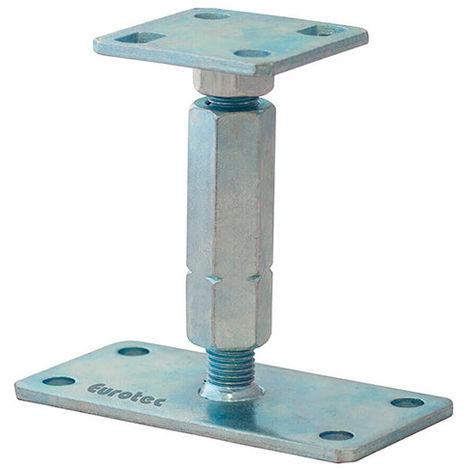 Pied de poteau réglable galvanisé bleu - Dim. 100 x 100 / 160 x 80 mm - Ht. 135 à 200 mm - -