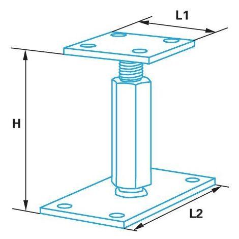 Pied de poteau réglable hauteur H110/180mm universel galvanisé B16X9