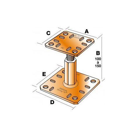 Pied de poteau réglable PPRC hauteur 100 à 150 mm SIMPSON