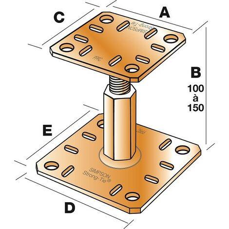Pied de poteau réglable prêt-à-fixer SIMPSON - kit complet avec fixations - KIT FIX PPRC