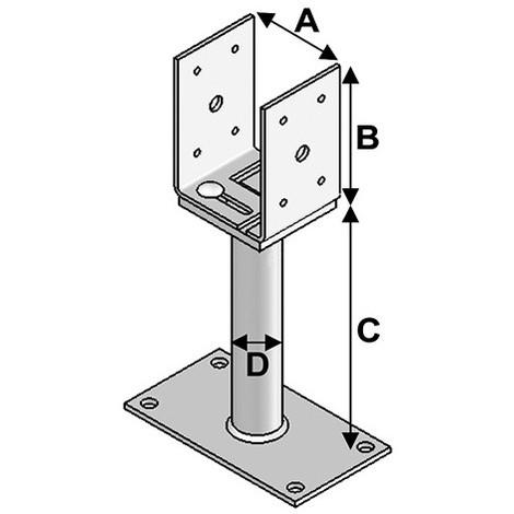 Pied de poteau réglage avec platine type PPULR-150 (A x B x C x D x ép) 80-160 x 120 x 150 x 38 x 5,0 mm - AL-PPULR150 - Alsafix - -