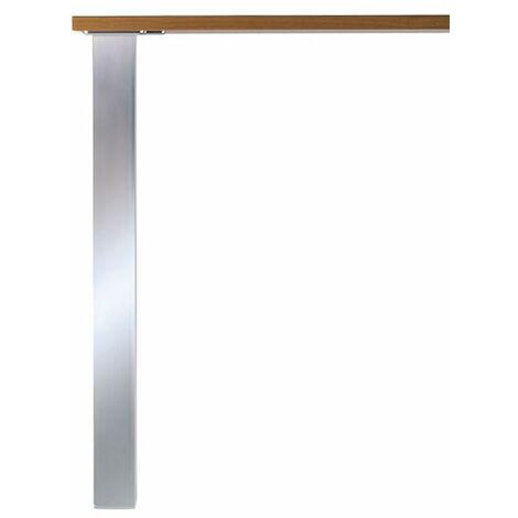 Pied de table carré brossé aspect inox L60 x H870