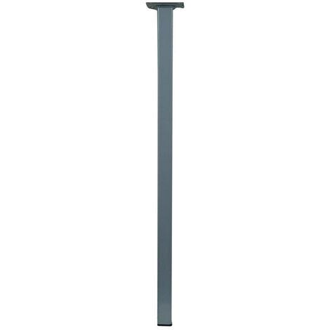 Pied de table carré fixe acier mat gris, 80 cm