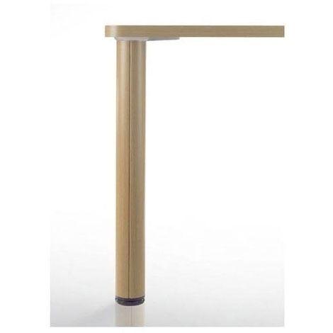 Pied de table en bois et aluminium - Ø80 mm - Type de section : Ronde - Réglage : + 30 mm - : - Décor : Hêtre - Hauteur : 700 mm - Diamètre : 80 mm - : - CAMAR