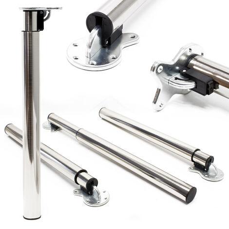 Pied de table Lot de 4 Nickel Support de table Réglable en hauteur 70-110cm