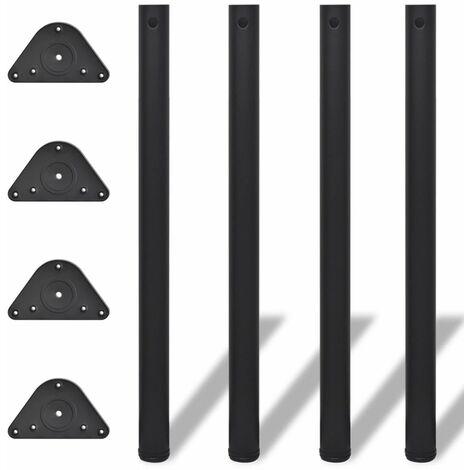 Pied de table reglable en hauteur 4 pcs 870 mm Noir