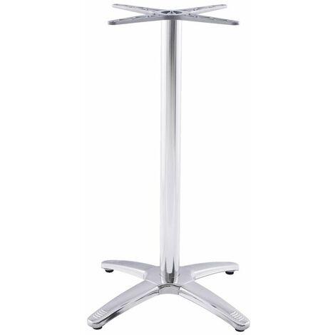 Pied de Table Sans Plateau Chrome 110cm Embase Croisée - Argenté