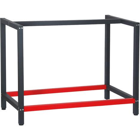 Pied d'établi 100x57x81 cm Acier Anthracite Rouge Support Table travail Emballage Atelier Dépôt