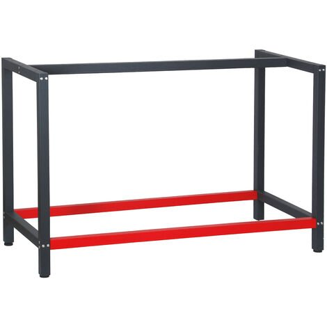 Pied d'établi 125x57x81 cm Acier Anthracite Rouge Support Table de travail Emballage Atelier Dépôt