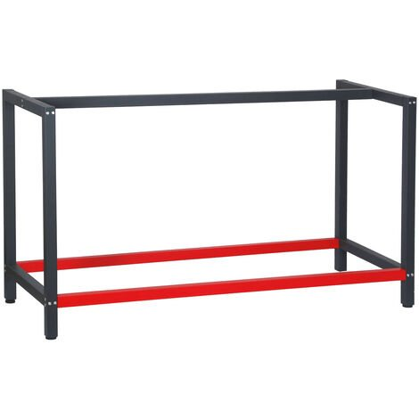 Pied d'établi 150x57x81 cm Acier Anthracite Rouge Support Table de travail Emballage Atelier Dépôt