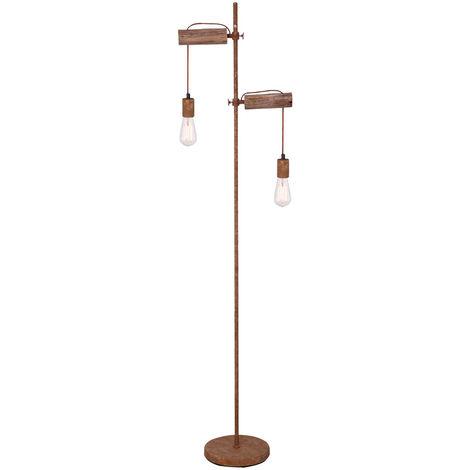 Pied en bois vintage hauteur réglable salon lampe de salon hauteur rouille Globo 15327-2SN
