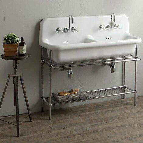 Pied métallique pour lavabo 120 cm - True Colors - Chromé