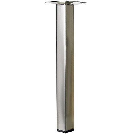 """main image of """"Pied table basse carré HETTICH fixe acier brossé gris"""""""
