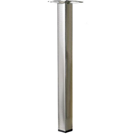 Pied table basse carré HETTICH fixe acier brossé gris