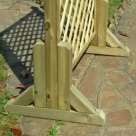 Piedino doppio sostegno base in legno per pannello traliccio grigliato
