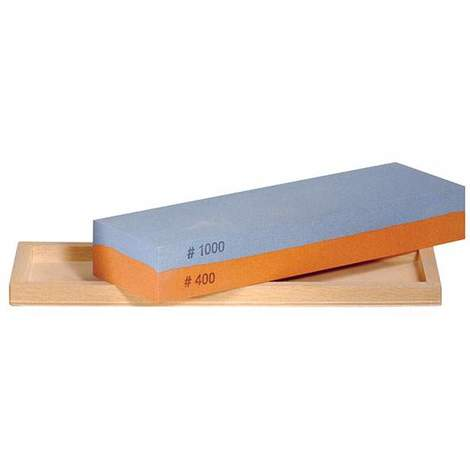 Piedra combinada de afilado al agua 400/1000 en caja de madera Pfeil