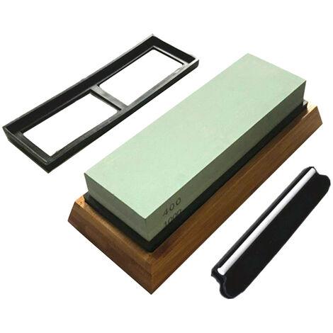 Piedra de afilar 400/1000 de grano lateral 2, con soporte de silicona antideslizante Base de bambu