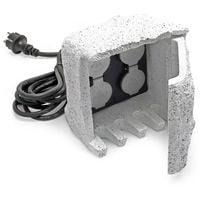 Piedra enchufe jardín 4 Tomas corriente Cable 5m Resina IP44 Accesorios exterior Enchufe exterior