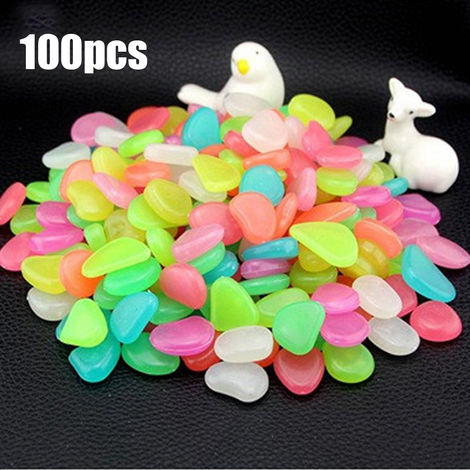 Piedra fluorescente artificial, guijarros de resina de pecera, 100 piezas,multicolor mixto