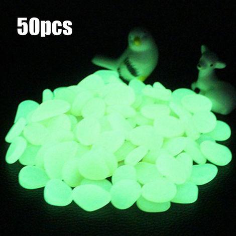 Piedra fluorescente artificial, guijarros de resina de pecera, 50 piezas,Cian