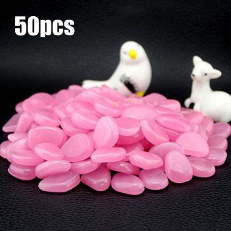 Piedra fluorescente artificial, guijarros de resina de pecera, 50 piezas,rosa