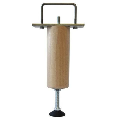 Pieds de lit renfort reglable en bois hetre massif verni incolore - H 17 a 20 cm